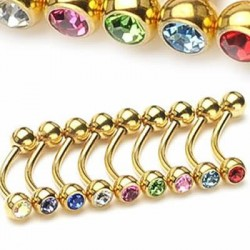 Gold Plated Jeweled Surgical Steel Banana / Curved Barbells