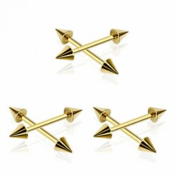 Gold Plated Surgical Steel Spike Straight Barbells
