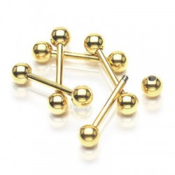Gold Plated Surgical Steel Ball Straight Barbells