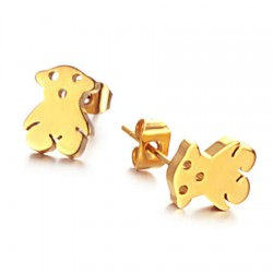 18K Gold Plated Cutting Bear Stainless Steel Ear Studs