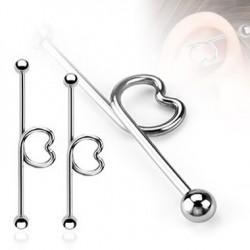 Surgical Steel Heart Loop Industrial Barbells