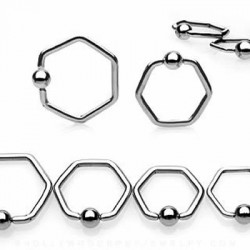 Hexagon Surgical Steel Captive Bead Rings