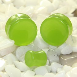 Apple Green Glass Double Flare Plugs