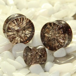 Coffee Black Cracked Shattered Glass Double Flare Plugs