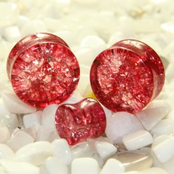 Red Cracked Shattered Glass Double Flare Plugs