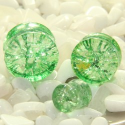 Green Cracked Shattered Glass Double Flare Plugs