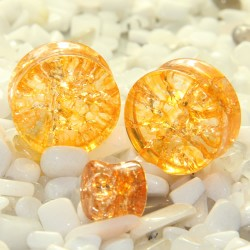 Yellow Cracked Shattered Glass Double Flare Plugs