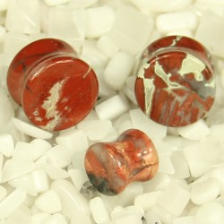 Red Breciated Jasper Double Flare Plugs