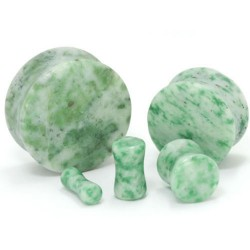 Jade Marble Double Flare Stone Plugs
