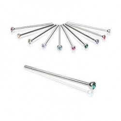 Surgical Steel Fishtail Nose Stud Ring with Glue Gem
