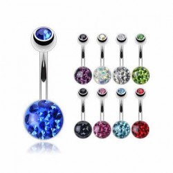 Jeweled Surgical Steel Navel Belly Ring with Epoxy Crystaline Ferido 8mm Ball