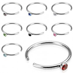 Surgical Steel Nose Hoop Ring with Crystal