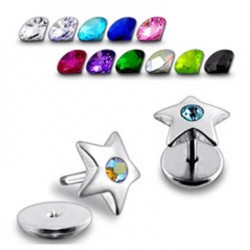 Jeweled Star Fake Plugs Faux Ear Plugs