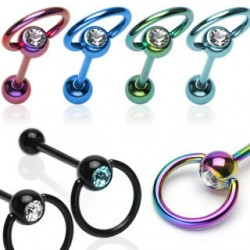 Titanium Anodized Jeweled Captive Slave Straight Barbells