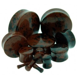 Mahogany Double Flare Stone Plugs