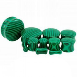 Malachite Double Flare Stone Plugs