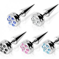 Multi Crystal Disc Cone Fake Plugs Faux Ear Plugs