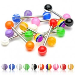Acrylic UV Striped Color Balls Straight Tongue Barbells