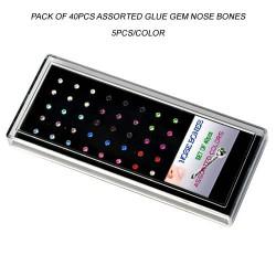 Acrylic Display Tray Pack of 40pcs Assorted Glued Gem Nose Bones