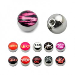 Surgical Steel Picture Logo Ball Replacement Body Jewelry Parts