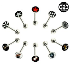 G23 Titanium Straight Barbells with Picture Logo Disc