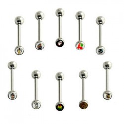 Surgical Steel Straight Barbells with Picture Logo Ball