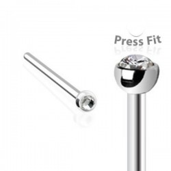 Surgical Steel Fishtail Nose Stud Ring with Press-set Gem Head