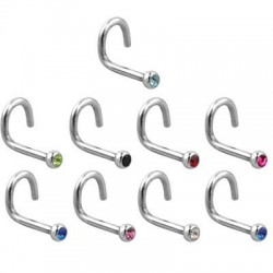 Surgical Steel Nose Screw Nose Stud with Press-set Gem Head