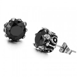 Casting Paw Prong Set Round CZ Stainless Steel Ear Studs