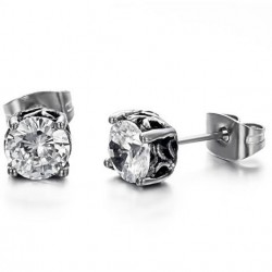 Prong Set Round CZ Casting Stainless Steel Ear Studs