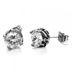 Prong Set CZ Casting Stainless Steel Ear Studs
