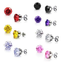 Prong Set CZ Stainless Steel Ear Studs