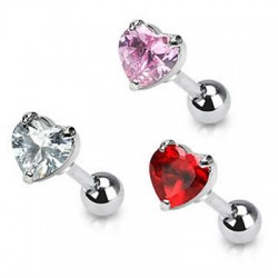 Prong Set Heart Cubic Zirconia Tragus Cartilage Straight Barbells