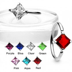 Prong Set Square CZ Surgical Steel Captive Bead Rings