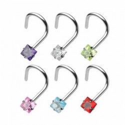 Prong Set Square CZ Nose Screw Nose Stud Rings
