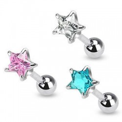 Prong Set Star Cubic Zirconia Tragus Cartilage Straight Barbells