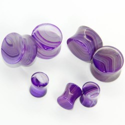 Purple Line Agate Double Flare Stone Plugs