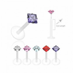 Push-in Flexible BIO Labret with Prong-set Square CZ