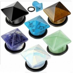Pyramid Shape Single Flare Stone Plugs