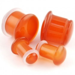 Red Carnelian Single Flare Stone Plugs