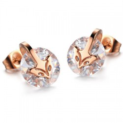 18K Rose Gold Plated Fox Head CZ Stainless Steel Ear Studs