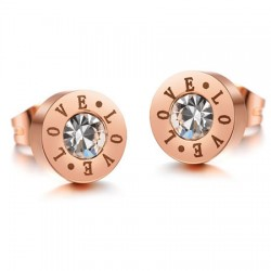 18K Rose Gold Plated CZ & Love Stainless Steel Ear Studs
