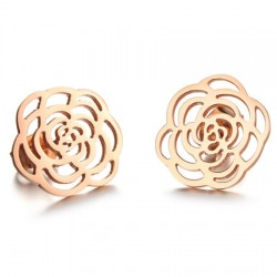 18K Rose Gold Plated Cutting Flower Stainless Steel Ear Studs