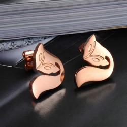 18K Rose Gold Plated Cutting Fox Stainless Steel Ear Studs