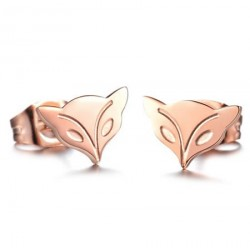 18K Rose Gold Plated Cutting Fox Head Stainless Steel Ear Studs