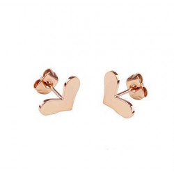 18K Rose Gold Plated Cutting Heart Stainless Steel Ear Studs