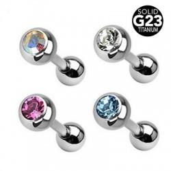 G23 Titatnium Single Jeweled Ball Straight Tongue Barbells