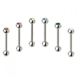Surgical Steel Single Gem Ball Straight Barbells