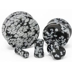 Snowflake Obsidian Double Flare Stone Plugs
