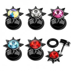 Black Anodized Multi Spikes Jeweled Fake Plugs Faux Ear Plugs with Rubber O-rings